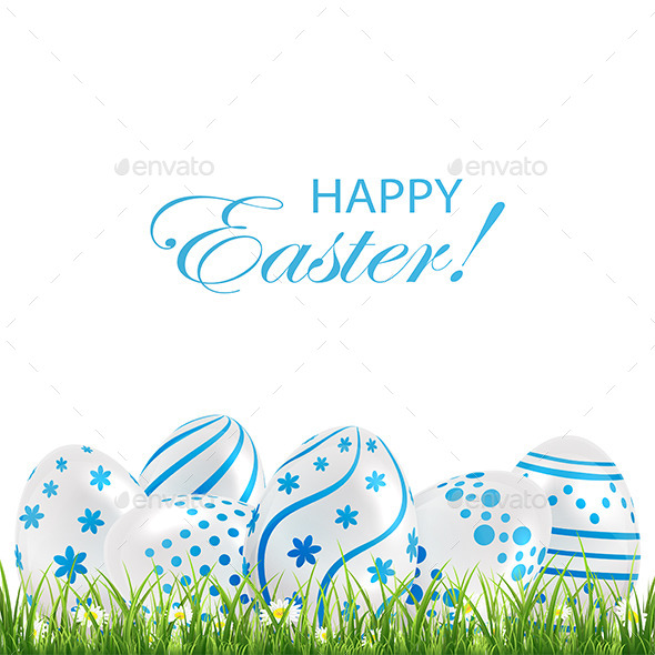 GraphicRiver Blue Easter Eggs in the Grass 10746997