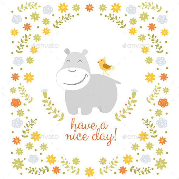 GraphicRiver Happy Hippo on Floral Background 10747650