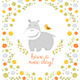 Happy Hippo on Floral Background - GraphicRiver Item for Sale