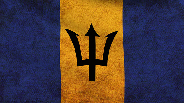 Barbados Flag 2 Pack Grunge and Retro