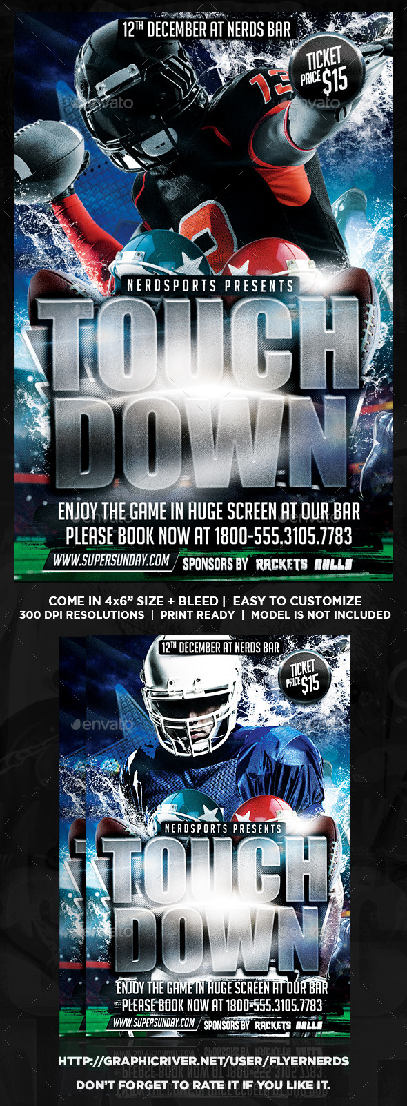 GraphicRiver Touchdown Football Sports Flyer 10667632