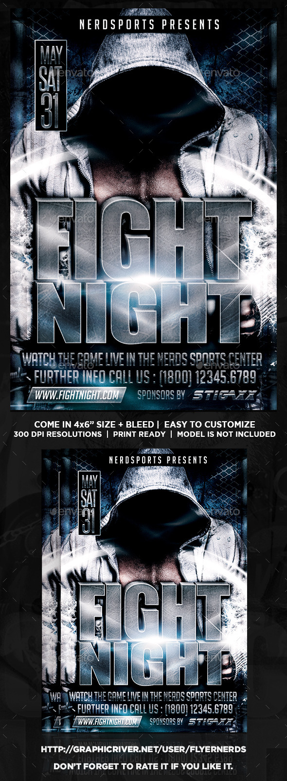 GraphicRiver Fight Night Sports Flyer 10748215