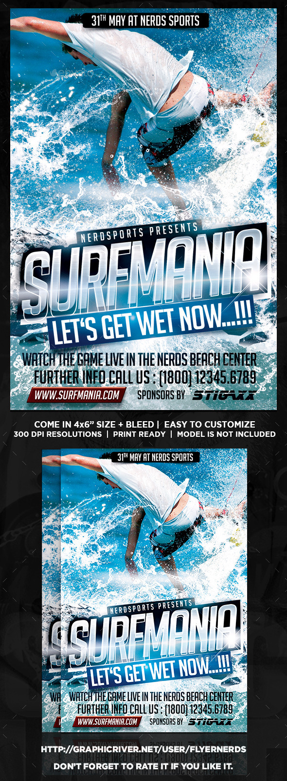 GraphicRiver Surfer Mania Sports Flyer 10748238