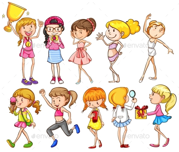 GraphicRiver Group of Girls 10748314