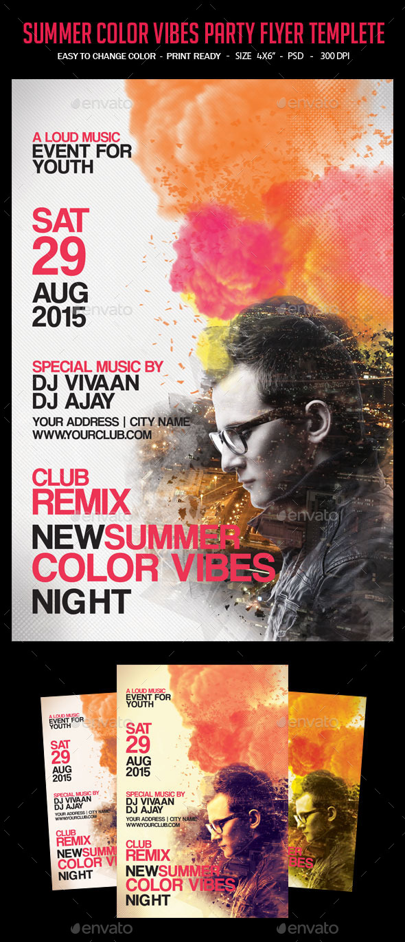 GraphicRiver Summer Color Vibes Party Flyer Templete 10748359