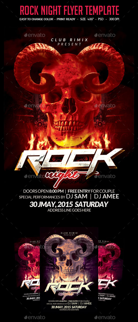 GraphicRiver Rock Night Flyer Template 10748391