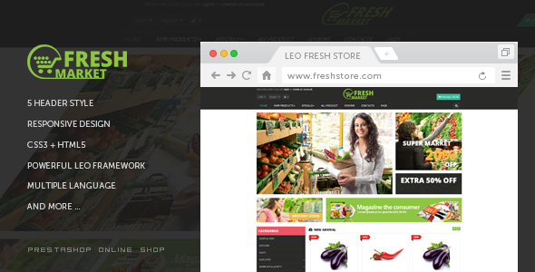 ThemeForest Fresh Store Responsive Prestashop Theme 10748419