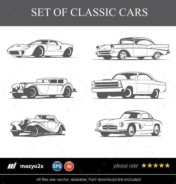 GraphicRiver Set of Classic Cars 10749561