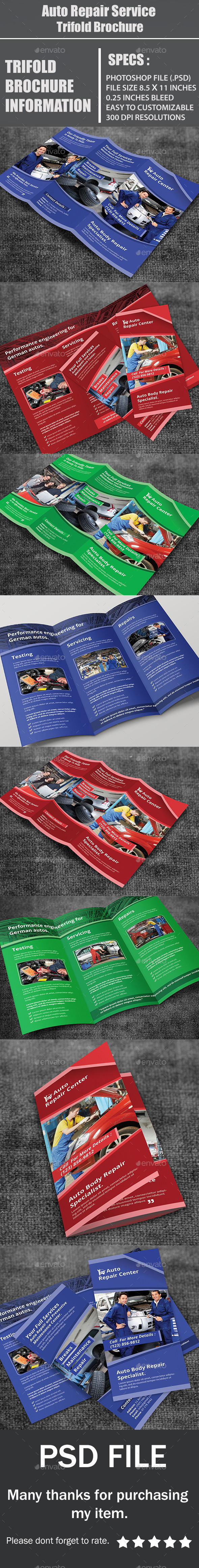 GraphicRiver Auto Repair Service Trifold Brochure 10749745