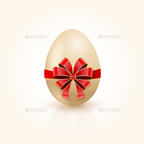 GraphicRiver Red Bow on Easter Egg 10750280