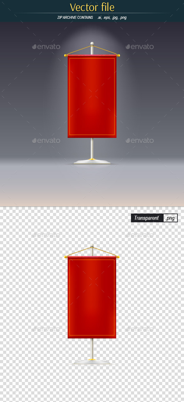 GraphicRiver Red Pennant on the Rack 10750427