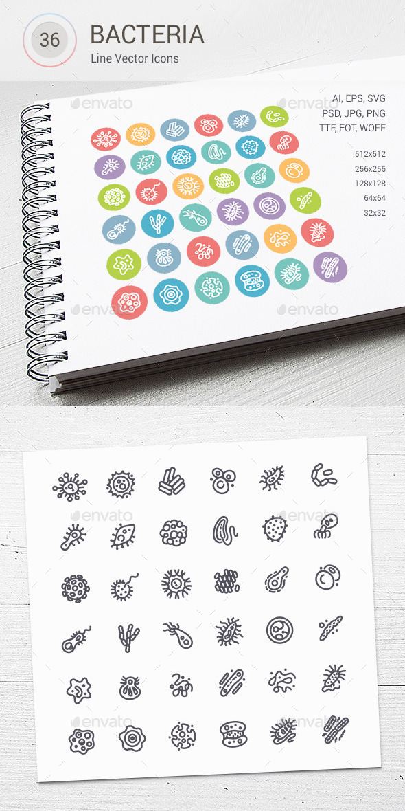 GraphicRiver Set of Line Vector Icons with Bacteria and Germs 10717862