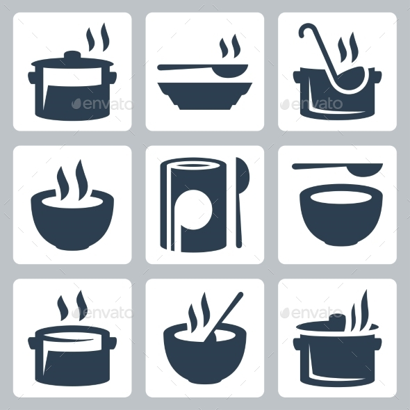 GraphicRiver Soup Related Icon Set 10750773
