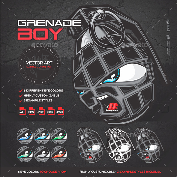 GraphicRiver Angry Hand Grenade Boy [Character Logo Mascot] 10750801