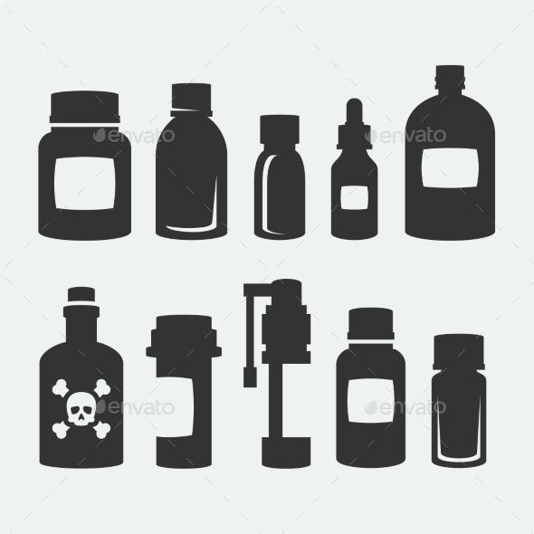 GraphicRiver Medicine Bottles Icons Set 10750968