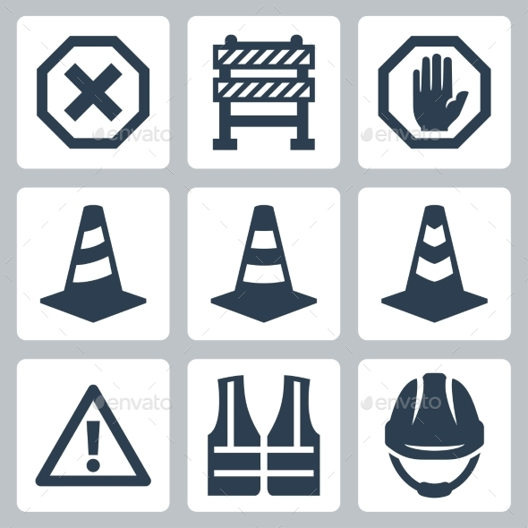 GraphicRiver Warning and Job Safety Icons 10750974