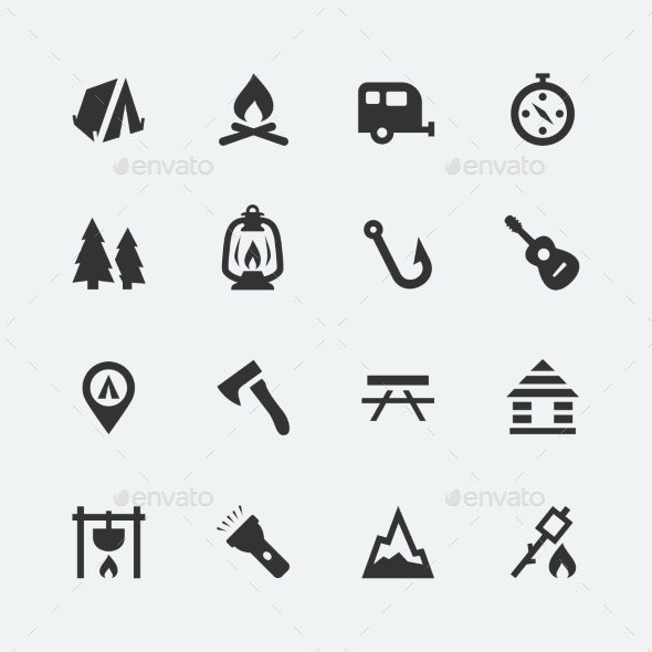 GraphicRiver Camping Icons 10750978