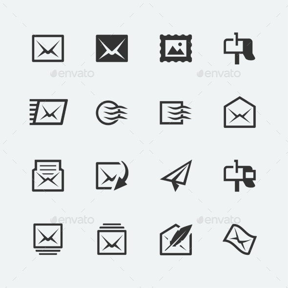 GraphicRiver Post and Mail Related Icons 10750989