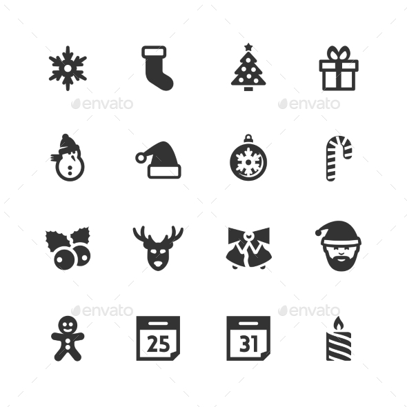 GraphicRiver Christmas and New Year Icons 10751328