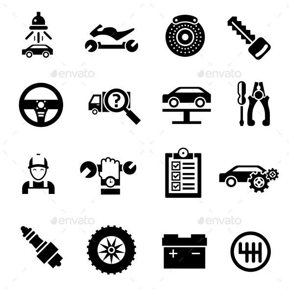 GraphicRiver Car Repair Icons Black 10751811