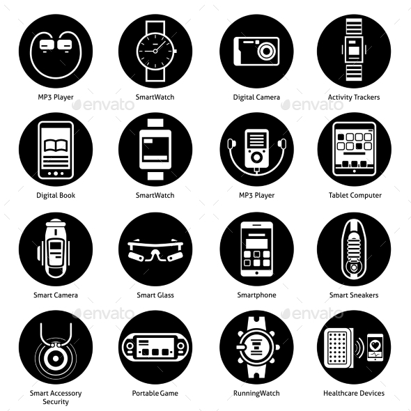 GraphicRiver Wearable Technology Icons Black 10751827