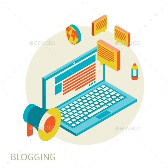 GraphicRiver Isometric Blogging Design 10751836