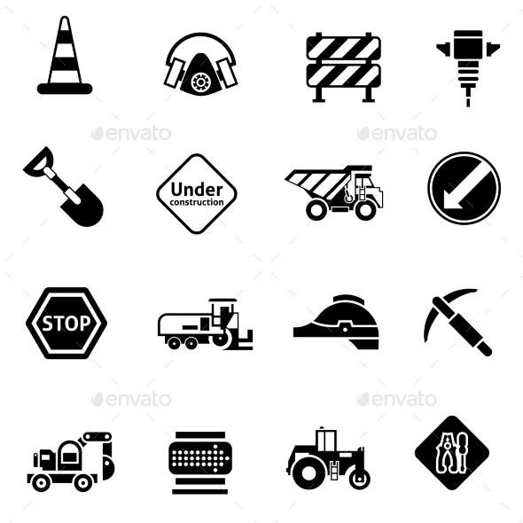 GraphicRiver Road Repair Icons Black 10751900