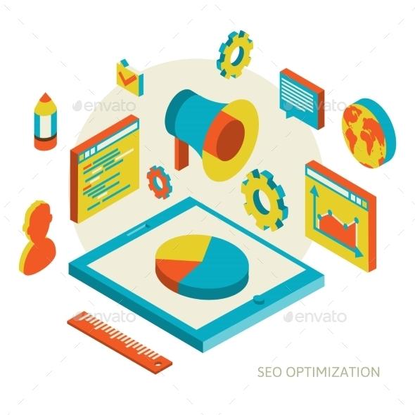 GraphicRiver Isometric Background Seo Optimization 10752036