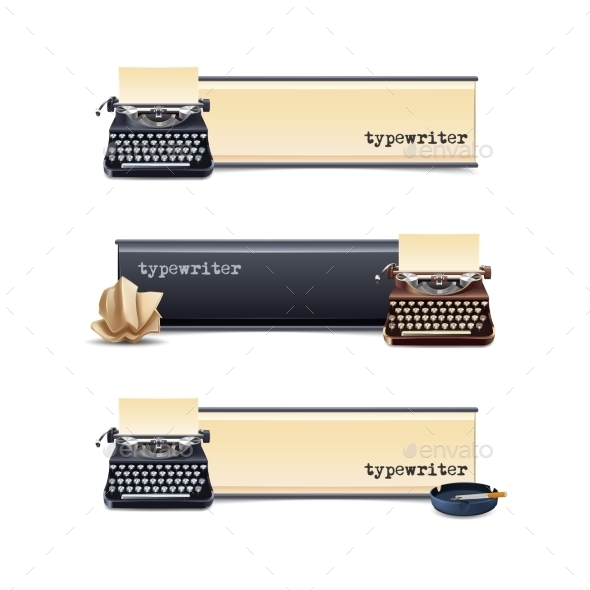 GraphicRiver Typewriter Banners Set 10752705
