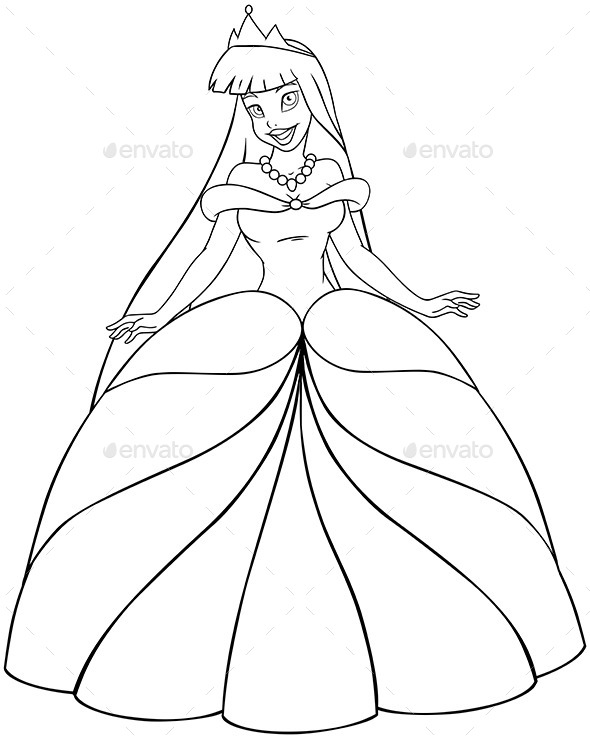 GraphicRiver Asian Princess Coloring Page 10753002