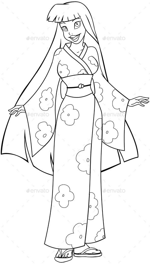 GraphicRiver Asian Woman in Kimono Coloring Page 10753031