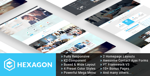 ThemeForest Hexagon Responsive Multipurpose Business Joomla Template 10670196