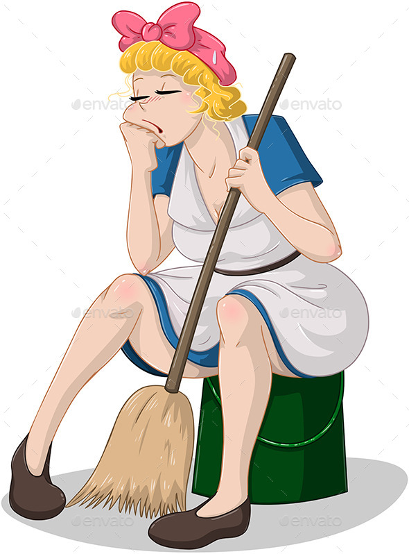 GraphicRiver Tired Woman with Broom Sitting on Bucket 10753173