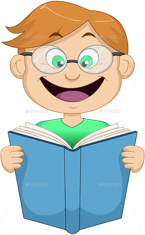 GraphicRiver Boy with Glasses Reading from Book 10753307
