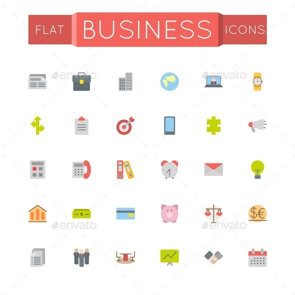 GraphicRiver Vector Flat Business Icons 10753375
