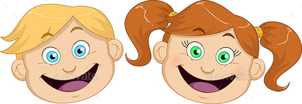 GraphicRiver Boy and Girl Heads Smiling 10753401