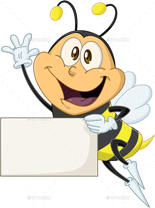 GraphicRiver Bee Holds Sign and Waves Hello 10753478