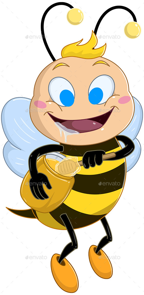 GraphicRiver Drooling Bee Holds Honey Jar 10753481