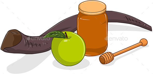 GraphicRiver Honey Jar with Apple and Shofar for Yom Kippur 10753505