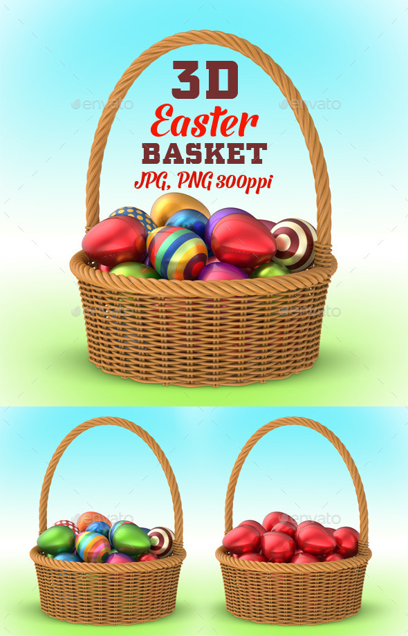GraphicRiver Wicker Basket with Easter Eggs 3D 10753769