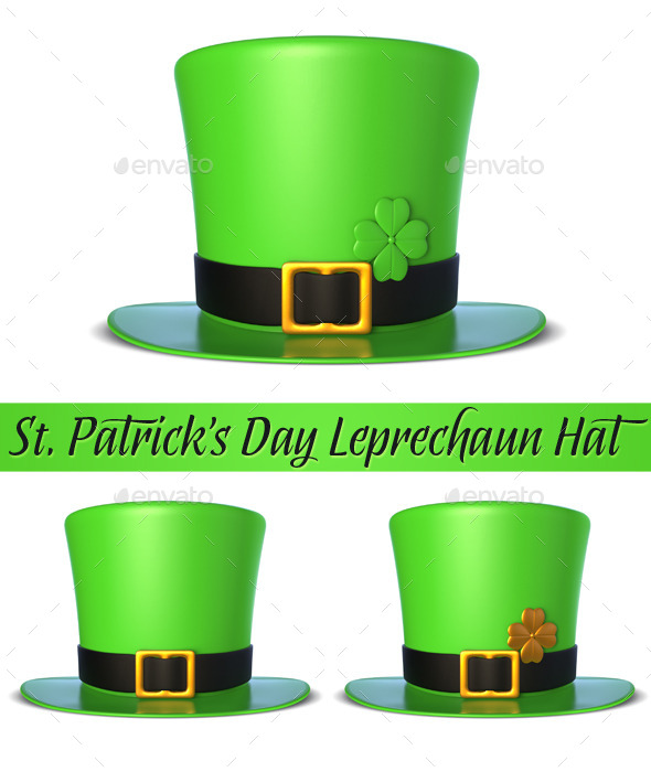 GraphicRiver St Patricks Day Leprechaun Hat 3D 10754302