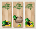Three Saint Patrick's Day banners with lover leaves, green hat and gold coins in a cauldron. - PhotoDune Item for Sale