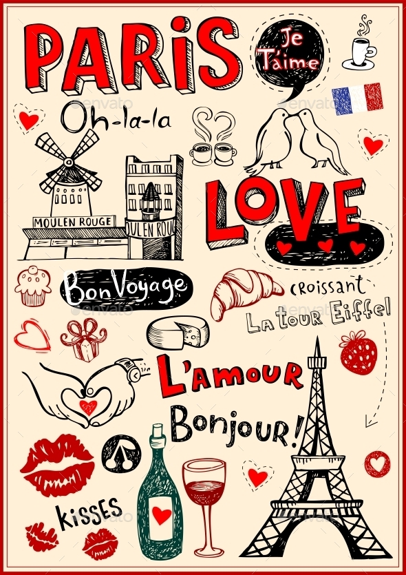 GraphicRiver Paris Love Doodles 10755164