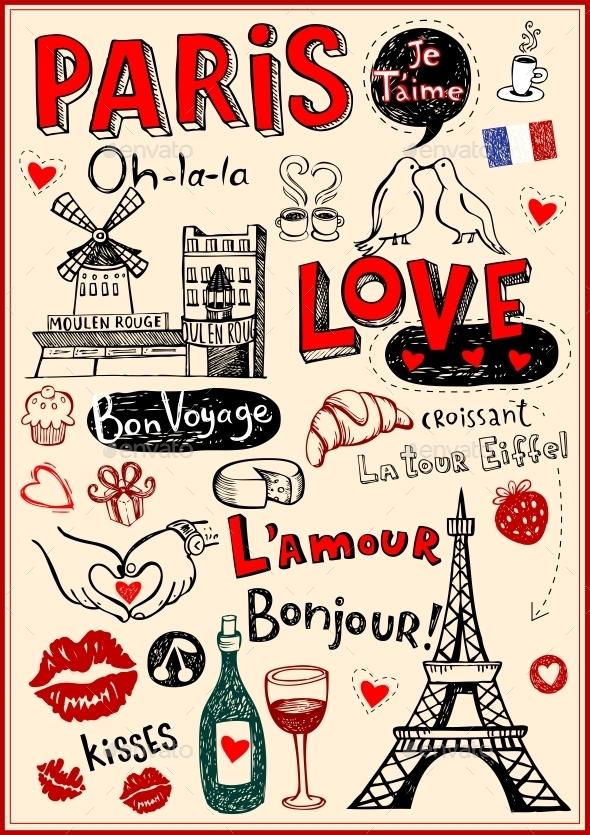 GraphicRiver Paris Love Doodles 10755164