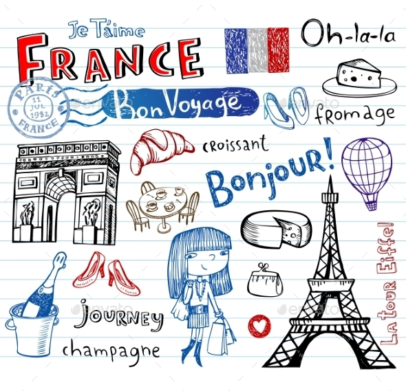 GraphicRiver France Doodles 10755180