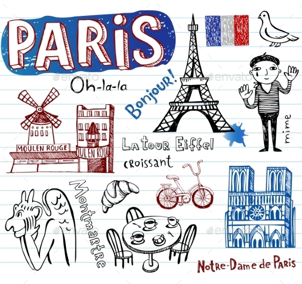 GraphicRiver France Doodles 10755194
