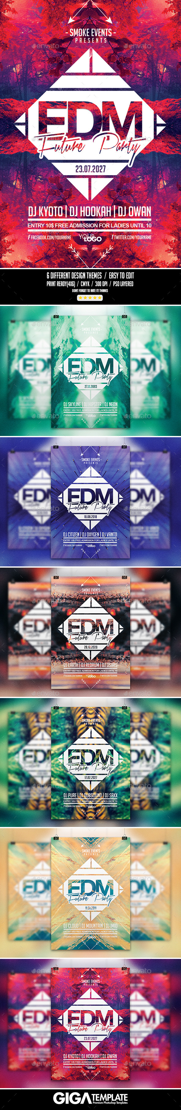 GraphicRiver EDM Futuristic Music Flyer PSD Template 10755323