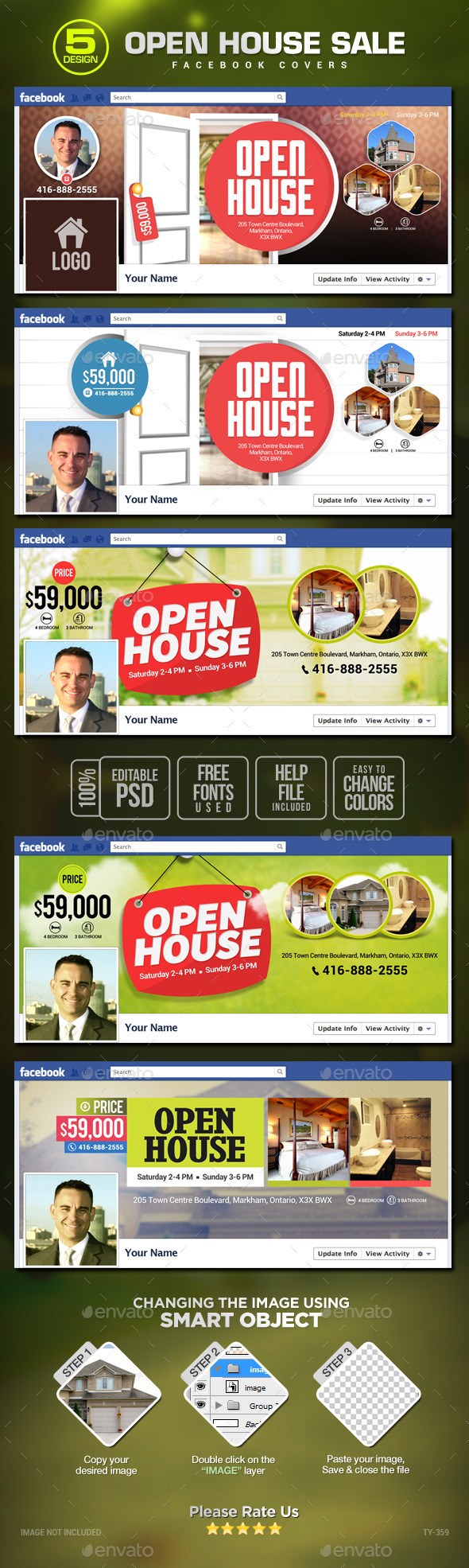GraphicRiver Real Estate Open House Facebook Covers 5 Designs 10755461