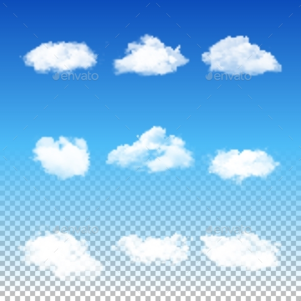 GraphicRiver Set of Transparent Clouds 10755468