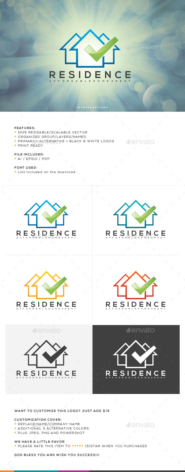 GraphicRiver Residence Logo Template 10755997